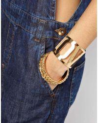 ASOS - Metallic Love Bangle Cuff Bracelet Pack - Lyst