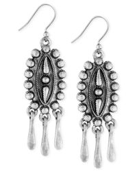 Lucky Brand - Metallic Silver-tone Detailed Dangle Earrings - Lyst