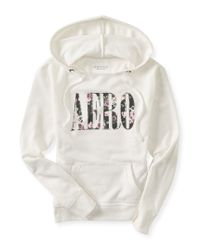 Aéropostale | White Aero Floral Sequin Popover Hoodie | Lyst