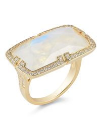 Ivanka Trump - Metallic Patras Rainbow Moonstone East-West Ring With Deco Diamond - Lyst