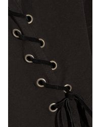 Balmain - Black Lace-Up Cotton-Jersey T-Shirt - Lyst