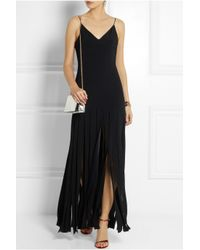 TOPSHOP - Black Fringed Stretch-Crepe Maxi Dress - Lyst