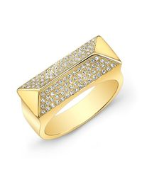 Anne Sisteron | 14kt Yellow Gold Diamond Pyramid Bar Ring | Lyst