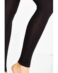 Urban Outfitters - Black Fleece Lined Footless Tight - Lyst