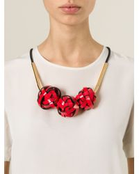 Marni | Red Woven Ball Necklace | Lyst