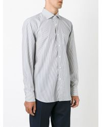 Canali - Gray Pinstriped Shirt for Men - Lyst