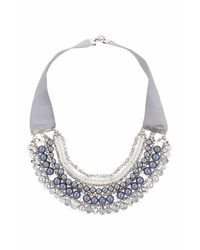 TOPSHOP | Gray Ribbon And Facet Beaded Collar | Lyst