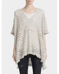 White + Warren | Gray Fringed Stitch Poncho | Lyst