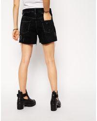 ASOS - Denim Girlfriend Shorts In Washed Black - Lyst