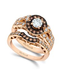 Le Vian | Brown Chocolate and White Diamond Engagement Ring Set in 14k Rose Gold 113 Ct Tw | Lyst