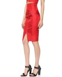 Nicholas - Bonded Silk Zip Pencil Skirt - Neon Red - Lyst