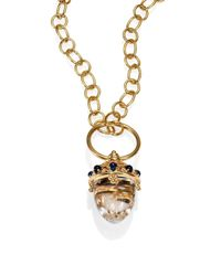 Temple St. Clair | Metallic Fortuna Rock Crystal, Sapphire & 18k Yellow Gold Acorn Amulet | Lyst