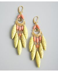 David Aubrey - Yellow Pink and Green Multi Stone Chandelier Earrings - Lyst