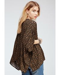 Forever 21 - Green Print Woven Cardigan You've Been Added To The Waitlist - Lyst