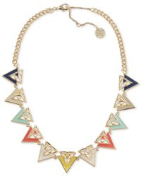 French Connection | Multicolor Gold-tone Triangle Necklace | Lyst
