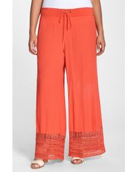 XCVI | Red Xcvi 'noe Valley' Lace Hem Wide Leg Pants | Lyst