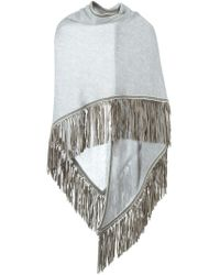 Antonia Zander - Gray Fringed Shawl - Lyst