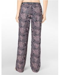 Calvin Klein - Black Printed Roll-up Cotton Pajama Pants for Men - Lyst