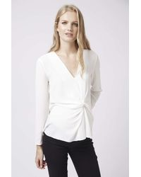 TOPSHOP - White Maternity Wrap Tuck Blouse - Lyst