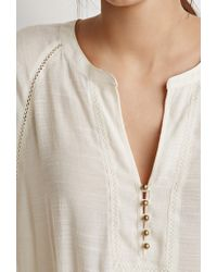 Forever 21 - Natural Buttoned Peasant Top - Lyst