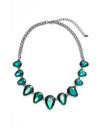 Tasha | Statement Necklace - Hematite/ Emerald Green | Lyst