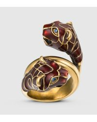 Gucci | Multicolor Tiger Head Ring With Red Enamel | Lyst