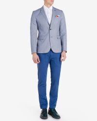 Ted Baker - Blue Coloured Cotton Chinos for Men - Lyst