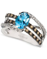 Le Vian - Metallic Chocolatier Aquamarine (9/10 Ct. T.w.) And Diamond (3/8 Ct. T.w.) Ring In 14k White Gold - Lyst