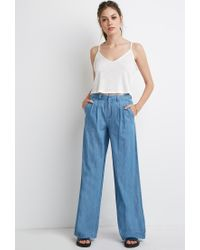 Forever 21 - Blue Wide-leg Denim Trousers - Lyst
