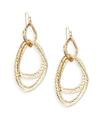 Saks Fifth Avenue | Metallic Hammered Double Drop Earrings | Lyst