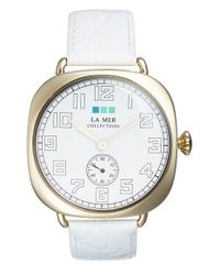 La Mer Collections | White Cushion Case Leather Strap Watch | Lyst