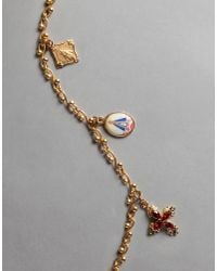 Dolce & Gabbana - Metallic Necklace With Medal Charms - Lyst