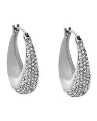 Michael Kors - Metallic Silvertone Pave Hoop Earrings - Lyst