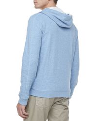 Vince | Blue Jerseylined Heather Hoodie for Men | Lyst