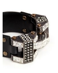 Lanvin - Metallic 'dahomar' Crystal Leather Hinge Bracelet - Lyst