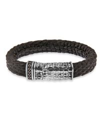 Platadepalo | Black Croc Style Leather Bracelet | Lyst