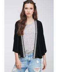 Forever 21   Black Chevron Embroidered Kimono   Lyst