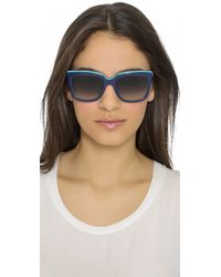 Ferragamo - Colorblock Sunglasses - Blue Turquoise - Lyst