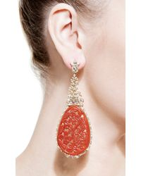 Bochic | Red Carved Ruby and Diamond Earrings | Lyst