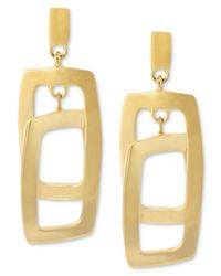Kenneth Cole | Metallic Gold-tone Rectangle Link Drop Earrings | Lyst
