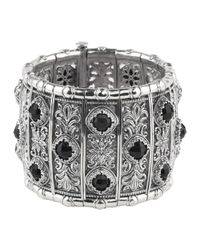 Konstantino - Black Silver & Onyx Panel Statement Cuff Bracelet for Men - Lyst