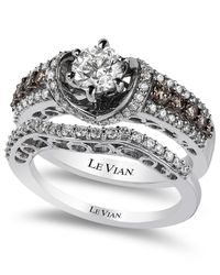 Le Vian - Brown Bridal Chocolate Diamonds And White Certified Diamond Engagement Set In 14K White Gold (1-1/2 Ct. T.W.) - Lyst