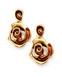 Oscar de la Renta - Metallic Rose Clip-On Drop Earrings - Lyst