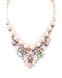 Shourouk - Multicolor Theresa Goldplated Crystal Sequin and Pearl Necklace - Lyst