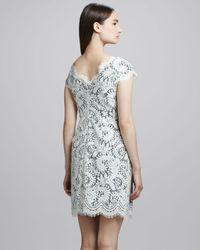 Shoshanna | White Lace Capsleeve Dress | Lyst