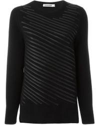 Jil Sander - Black Leather Stripes Sweater - Lyst