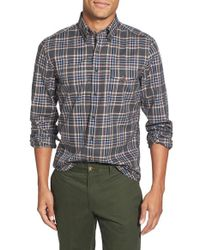 GANT | Green 'rockaway' Trim Fit Plaid Twill Sport Shirt for Men | Lyst