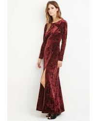 Forever 21 | Red Contemporary Crushed Velvet Maxi Dress | Lyst