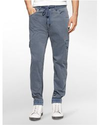 Calvin Klein | Blue Jeans Solid Sateen Drawstring Jogger Pants for Men | Lyst