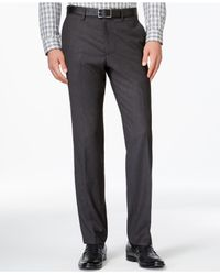 Kenneth Cole Reaction | Gray Micro Grid Slim Fit Dress Pants for Men | Lyst